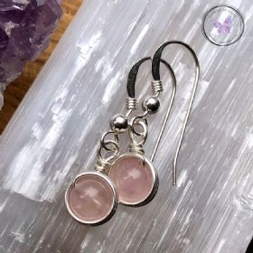 Rose Quartz Sterling Silver Wire Wrapped Earrings